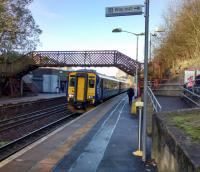 'Clarkston & Stamperland' announced the big blue running-in board when I first<br> passed through here. An East Kilbride bound 156 calls on 11 November 2017. This line<br> is surely overdue for electrification.<br> <br> <br><br>[David Panton 11/11/2017]