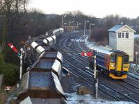 153310 approaches Barnetby as coal empties set off for Immingham. 4th February 2015.<br> <br> <br><br>[Graeme Blair 04/02/2015]