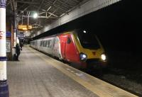 <I>Last train from London</I>. Virgin Voyager 221113 makes the penultimate stop at Poulton on the evening of 10th November 2017 with a Euston to Blackpool North service. With the line closing that night for nineteen weeks electrification work the next Euston to Blackpool service (a Pendolino?) will run entirely under the wires and with colour light signalling.<br><br>[Mark Bartlett&nbsp;10/11/2017]