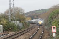 The 1029 Swansea to London Paddington service, formed by new Class 800 electro-diesel sets 800011 and 800013, seen approaching Neath on 16th November 2017.<br> <br> <br><br>[Alastair McLellan&nbsp;16/11/2017]