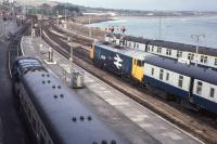 08644 and 50036 'Victorious' share a Sunday afternoon at Penzance. A 3-car DM is also visible to the east of the station. 5th July 1981.<br> <br><br>[Graeme Blair&nbsp;05/07/1981]