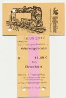 The tickets for the Harzer-Schmalspur-bahnen trips to the Brocken feature HSB locomotive 99 222.  Built in 1931 (BJ (Bau Jahr - year built) 1931 on the ticket), it is still going strong.  The local beer, Hasseröder, is also rather good!<br><br>[Norman Glen&nbsp;18/09/2017]