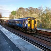 156 439 calls at Thornliebank with an East Kilbride service on the cold<br> morning of 11 November 2017.<br> <br> <br><br>[David Panton&nbsp;11/11/2017]