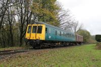 Resident GRC&W <I>Bubble Car</I> 55001 approaches Summerseat, with a CCT van in tow, on a Ramsbottom to Bury service during the ELR Scenic Railcar Gala on 4th November 2017. <br><br>[Mark Bartlett&nbsp;04/11/2017]