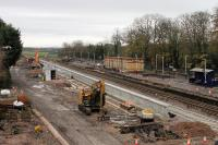 The new third platform taking shape at Kirkham on 21st November 2017. This station will reopen at the end of January 2018, but only for trains to Blackpool South until the rest of the Fylde lines electrification project is complete. <br><br>[Mark Bartlett&nbsp;21/11/2017]