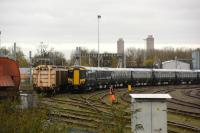 Two rakes of Class 387 EMUs in the sidings close to Didcot station, all in new GWR colours. EMU 387-162 on show. 9th November 2017.<br> <br> <br><br>[Peter Todd 09/11/2017]