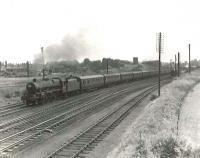 Jubilee 45710 <I>Irresistible</I> of Newton Heath shed takes a Saturday Manchester - Glasgow train north away from the Dumfries stop on 15 July 1961. <br><br>[G H Robin collection by courtesy of the Mitchell Library, Glasgow&nbsp;15/07/1961]