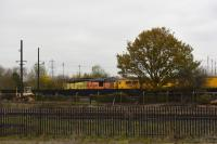 Colas 37421 passing Didcot at speed heading for Oxford with a Network Rail test train on 9th November 2017.<br> <br> <br><br>[Peter Todd 09/11/2017]
