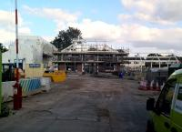 The rebuilt station at Kenilworth was due to open in December 2016 - then December 2017. Even that date may now not be met, but there is substantial visible progress. The under construction station is seen here on 2 September 2017. <br><br>[Ken Strachan 02/09/2017]