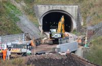 Close up of the new bridge over the Gala Water at the south end of Bowshank Tunnel looking essentially complete on 24 October 2014.  Note also the twin 200m runs of slab track emerging from the south portal of the tunnel. <br><br>[John Furnevel&nbsp;24/10/2014]