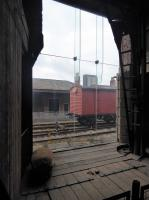 Looking out from the 1830 warehouse at Manchester Liverpool Road, towards the passenger platform, on 8th October 2017. There are a number of railway exhibits in various parts of these original railway buildings.<br><br>[Mark Bartlett&nbsp;08/10/2017]