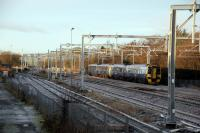 158868 leads the 1L77 Glasgow Queen St to Dundee service past Greenhnill Upper Junction on a frosty 25th November 2017.<br> <br><br>[Douglas McPherson&nbsp;25/11/2017]