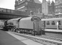 Stanier 'Coronation' Pacific 46241 <I>City of Edinburgh</I> photographed at Carlisle on a bright and sunny 1 June 1963, having just come off the 9.15am from Crewe [see image 45602]. <br><br>[K A Gray&nbsp;01/06/1963]