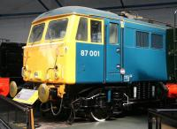 Built at Crewe in 1973, withdrawn in 2005, preserved BR Class 87 electric locomotive no 87001 stands in the main hall of the National Railway Museum, York, in March 2010. <br><br>[John Furnevel&nbsp;25/03/2010]