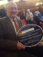 Ian Giles collects the <I>Stagecoach Volunteers Award</I> at the National Railway Heritage Association for the restoration of Thrumster station. 6th December 2017<br> <br><br>[John Yellowlees&nbsp;06/12/2017]