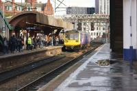 A two car Class 142 Pacer arrives at Manchester Oxford Road station on 20 October 2017 with a service to Southport. A few minutes were lost trying to get all the passengers onto an already busy train.<br><br>[John McIntyre&nbsp;20/10/2017]