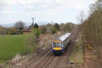 An image taken from Dykehead Farm overbridge on 27th April 2015. Between 170415 and the red signal was the location of High Bonnybridge (Bonnybridge High) station. To the right of the unit was a trailing junction feeding the Bonnybridge Silica and fireclay works (The Silica).<br> <br> <br><br>[Douglas McPherson&nbsp;27/04/2015]