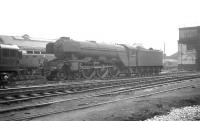 The changing balance of power is apparent in this photograph taken in the shed yard at Gateshead in the 1960s, with an unidentified Gresley A3 Pacific surrounded by recently arrived Type 3 and Type 4 diesel locomotives.  <br><br>[K A Gray&nbsp;//]