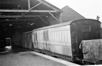 A GNSR 6-wheel passenger brake of 1898 at Aberdeen Waterloo in 1960.<br><br>[David Murray-Smith&nbsp;13/06/1960]
