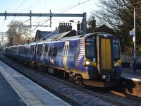 380 113 and 380 020 call at Linlithgow with the 12.00 Glasgow Queen Street - Edinburgh train.<br><br>[Bill Roberton&nbsp;10/12/2017]