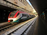 A Leonardo Express waiting to depart Rome Termini station for Fiumicino Airport Rome. Trains leave every 15 minutes and run non-stop to the airport taking 32mins. It cost 14 euros for a single and there is only first class accommodation. (02/12/17)<br> <br><br>[Alastair McLellan&nbsp;02/12/2017]