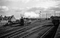 General view with ex NBR Class J36s 65251 and 65267 on 21/09/60. The view is of the carriage sheds to the south of Dyce station, viewed from just outside the station.<br><br>[David Murray-Smith&nbsp;21/09/1960]