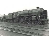 BR 'Clan' light Pacific 72006 <I>Clan Mackenzie</I> on shed at Balornock in June 1961. <br><br>[G H Robin collection by courtesy of the Mitchell Library, Glasgow&nbsp;10/06/1961]