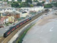 An unidentified eastbound train approaching Dawlish station during the early afternoon of Saturday 29 June 2002.<br><br>[Ian Dinmore&nbsp;29/06/2002]