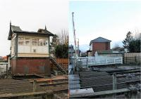 The little gate box at Carleton Crossing was quickly demolished soon after the photo on the left was taken on 21st November and there is now just a space alongside the barriers. [See image 34880]  taken from the same position in operational days. <br><br>[Mark Bartlett 09/12/2017]