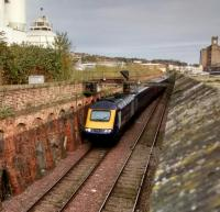 ​​ScotRail's training HST set approaches Dundee from the north on 7 November 2017. It has just crossed to the Down Line at Camperdown, not something done by service trains.<br> <br><br>[David Panton&nbsp;07/11/2017]