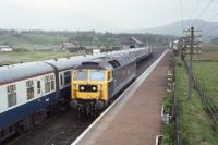 47702 awaits the northbound passage of 26023 + 26010 at Newtonmore in July 1980.<br><br>[Graeme Blair&nbsp;19/07/1980]