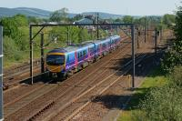 A southbound TPE service passes Beattock in the sunshine on 27 May 2012.<br><br>[John McIntyre&nbsp;27/05/2012]