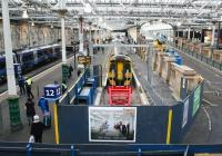 A Network Rail recruitment poster adorns the hoarding fronting the recently extended platform 12 at Waverley on 21 December 2017. [See news item] <br><br>[John Furnevel&nbsp;21/12/2017]