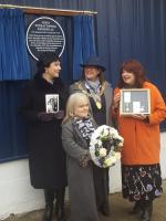 The three daughters of James Kennedy with the Lord Provost during the unveiling of a plaque to his memory. James Kennedy died during a robbery at the St Rollox Works in Glasgow on the 21st of December 1973.<br><br>[John Yellowlees&nbsp;21/12/2017]