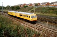 Former Met-Cam Class 101 DMU converted into Network Rail test train and numbered 901002 heads south on the Up Slow at Farington in September 2006.<br><br>[John McIntyre&nbsp;18/09/2006]