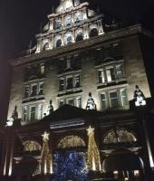 Edinburgh's impressive Caledonian Hotel at the east end of Princes Street, looking very festive and nicely decorated on 23rd December 2017. I wonder how many people now realise that there was a very substantial railway station behind the hotel.<br> <br> <br><br>[Alan Cormack&nbsp;23/12/2017]