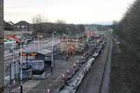 Still plenty of work to do at Kirkham before it reopens for Blackpool South trains on 28th January 2018. This was the view on Christmas Day 2017 showing work in progress on the island platform and the new third platform being constructed beyond. <br><br>[Mark Bartlett&nbsp;25/12/2017]