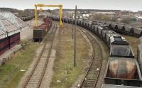 View over Elgin Yard in 2004.  The busy scene is deceptive as the coal hoppers were stored waiting for scrapping.<br> <br> <br><br>[Bill Roberton&nbsp;//2004]