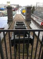 A short section of the Crewe Works narrow gauge railway (3 foot IIRC) survives on this ramp on the roof of the Heritage Centre signal box. View looks North; the class 40 cab on the right is mounted on the back of a road vehicle.<br><br>[Ken Strachan&nbsp;03/04/2015]
