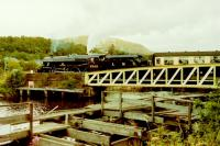 Black 5 Alderman A.E Draper 5305 crossing Banavie swing bridge on its way to Mallaig in August 1987. Thirty years later this loco is still on the main line. <br><br>[Gordon Steel&nbsp;16/08/1987]