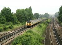 A Connex South Eastern EMU takes the Quarry Line south from Stoats Nest Junction in June 2002. <br><br>[Ian Dinmore&nbsp;18/06/2002]