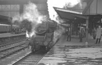 Black 5 4-6-0 45345 of Preston's Lostock Hall shed (10D) lets off steam alongside Carlisle platform 3 at the head of a summer Saturday working, thought to have been taken on 15 July 1967.<br><br>[K A Gray&nbsp;15/07/1967]