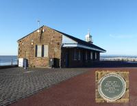 The old Morecambe Harbour station still stands on the Stone Jetty. In summer months it is a popular café but was closed on this sunny January afternoon when the Furness coastline and Cumbrian mountains were clearly visible from the jetty. A heritage plaque identifies the historic nature of the building. <br><br>[Mark Bartlett&nbsp;07/01/2018]