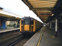 A westbound train destined for Portsmouth Harbour about to leave platform 3 at Worthing in May 2002<br><br>[Ian Dinmore&nbsp;04/05/2002]