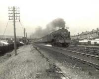 Holbeck Royal Scot 46112 <I>Sherwood Forester</I> passing through Crossmyloof on 9 August 1956 with the 4pm Glasgow St Enoch - Leeds City. [Ref query 12 January 2018]  <br><br>[G H Robin collection by courtesy of the Mitchell Library, Glasgow&nbsp;09/08/1956]