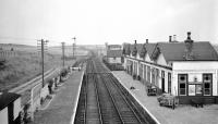 View north of the main line platforms at Tillynaught in 1959. The Banff branch platform is beyond the building to the right.<br><br>[David Murray-Smith&nbsp;11/09/1959]