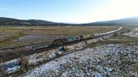 37602 and 37218 are pictured at Moy, returning to Inverness after an outing<br> to Tomatin with a snowplough test run on 9th January 2018.<br> <br><br>[John Gray&nbsp;09/01/2018]