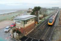 Network Rail have applied to Lancaster City Council for permission to demolish Hest Bank signal box. It was opened on 22nd December 1958, replacing an LNWR box on the opposite side of the crossing, but will not see its 60th birthday. An Edinburgh to Euston Pendolino passes on a frosty 11th January 2018. <br><br>[Mark Bartlett&nbsp;11/01/2018]