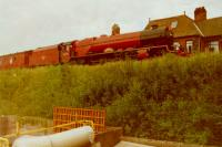Stanier 4-6-2 46203 Princess Margaret Rose passing the former station at Culgaith in the early 90's<br><br>[Gordon Steel&nbsp;//]