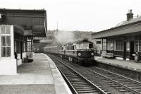 North Queensferry station with Aberdeen-Edinburgh train in July 1961.<br><br>[David Murray-Smith&nbsp;/07/1961]